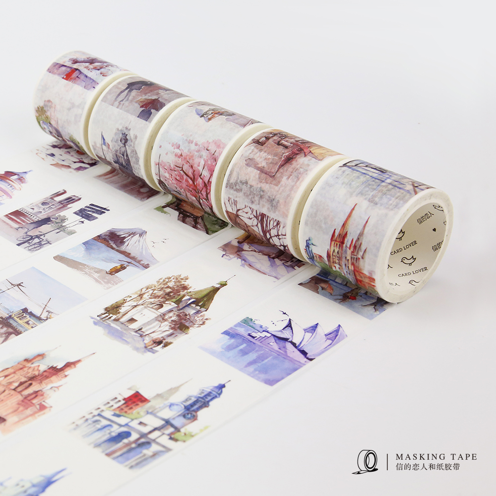 Tdo 1pcs World Travel Scenery Decorative Washi Tape Diy Sbooking Masking Handpainted School Office Supply Free Shipping 32801417824