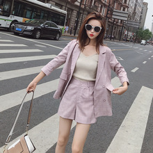 Womens suit Fashion Korean high quality long sleeve pink plaid jacket female Casual shorts ladies set 2019 new
