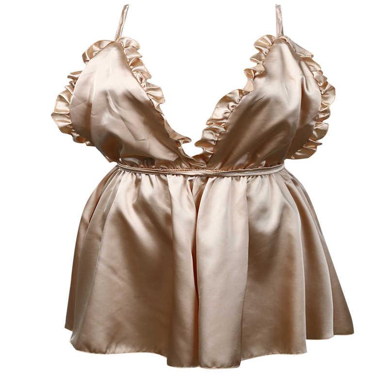ce0c1e4fd0 ... Womens Sexy Nightwear Spaghetti Strap Nightgown Mini Polyester Sleep  shirts Female Women Sleepwear Night Dress Plus ...
