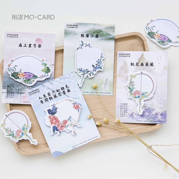 20 sets/1 lot Creative Ancient painting fan Memo Pad Sticky Notes Escolar Papelaria School Supply Bookmark Post it Label