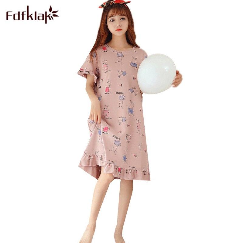 Fdfklak Printing Cotton Nightdress Summer Dress Nightshirt Women Short Sleeve   Nightgowns   Women's Nightwear Lounge   Sleepshirt