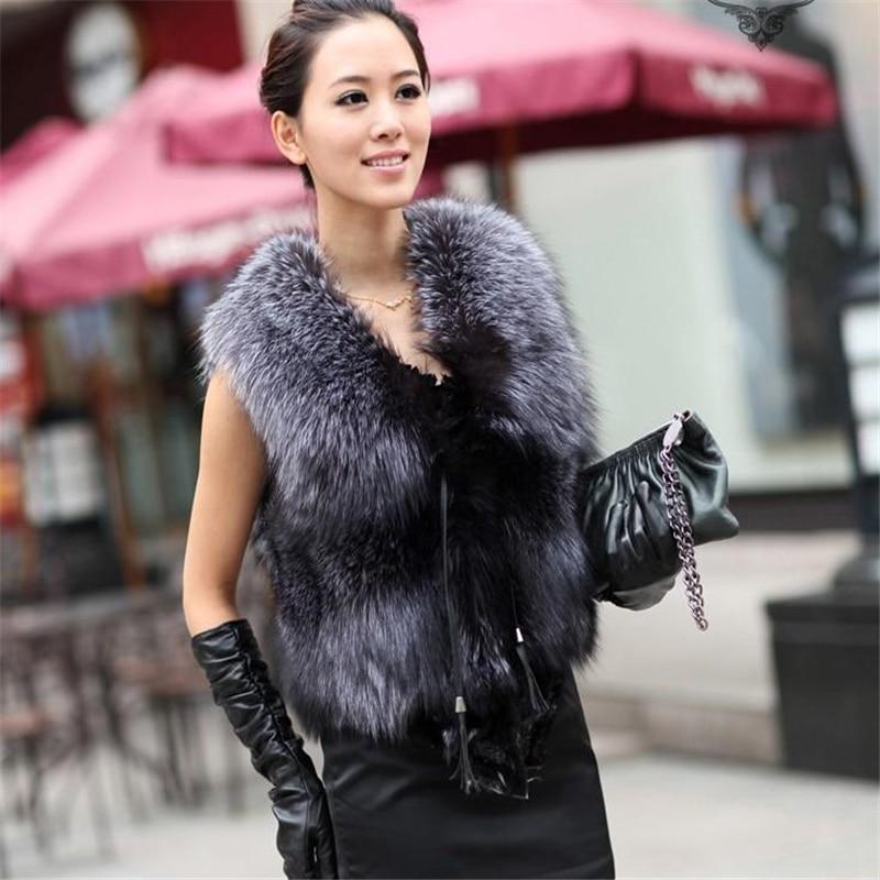 Moda couro lã colete raposa tira curta colete camurça prata raposa colete