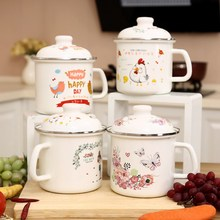 P Large Mug Enamel Fast Food Bowl Instant Noodle Cute Cup Plus Size Snack Preserved Fruit Candied Bottle 98oz