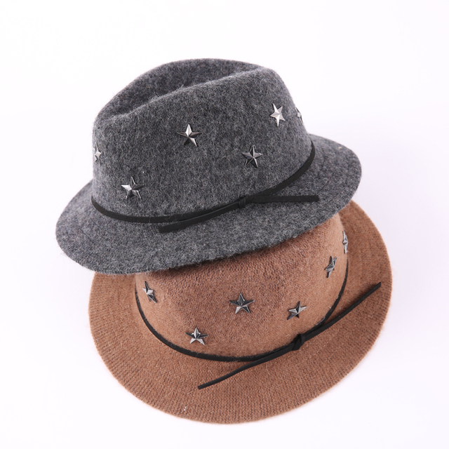 b074767c2b2 2018 Elegant Autumn Kids Stars Wool Jazz Fedora Hat Solid Felt Winter Cap  for Boys Girls