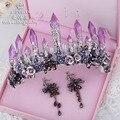 Elsie Wei púrpura cristalino de la joyería nupcial columna gran corona tiara estudio Barroco Europeo catwalk mostrar accesorios