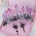 Elsie Wei roxo cristal coluna grande coroa tiara nupcial jóias Barroco Europeu catwalk show de estúdio acessórios