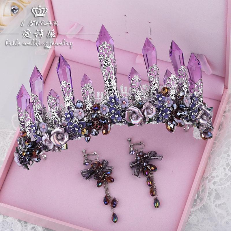 Paars crystal icy kolom grote kroon queens tiara bruiden studio catwalk show accessoires bruids haar sieraden-in Haarsieraden van Sieraden & accessoires op  Groep 1