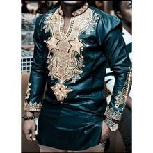 Африканский Костюмы длинные Sleeeve V шеи Футболка Для мужчин 2018 Фирменная Новинка Африканский Дашики традиционные Дашики Макси человек рубашка Для мужчин Футболки