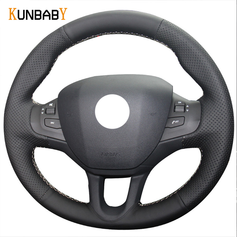 KUNBABY Black Genuine leather Car Steering Wheel Cover for Peugeot 208 Peugeot 2008
