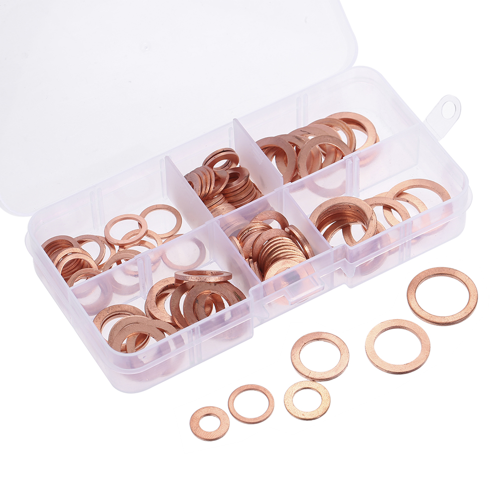 110pcs M6-M16 6 Sizes Solid Copper Gasket Assorted Copper Washers Sealing Ring Set Sump Plug Oil Seal Fittings with Case