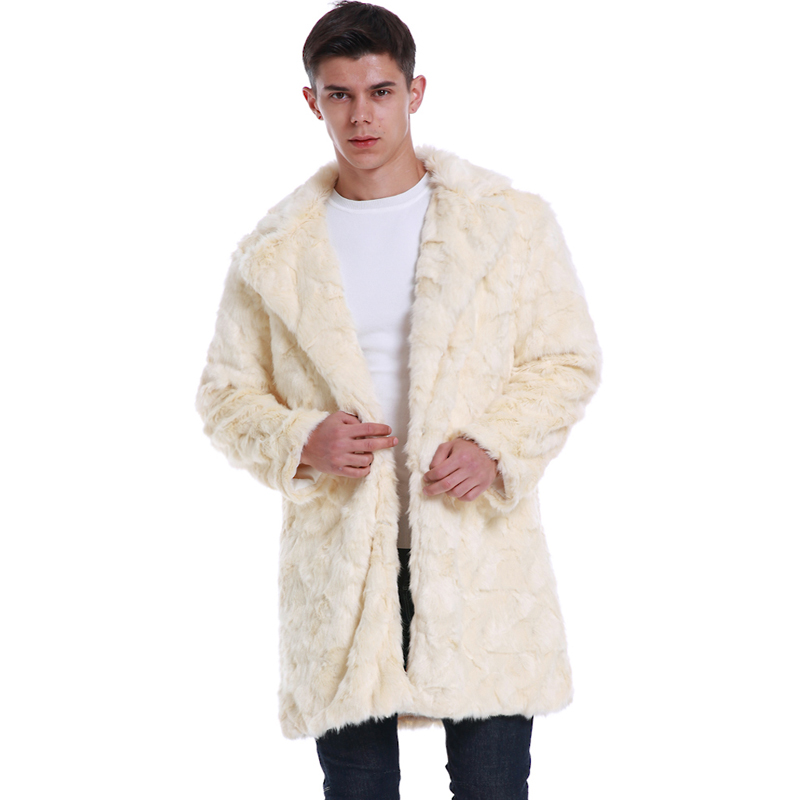 Men Winter Coats New Fashion Faux Wool & Blends Fur Coat Warm Jackets Long Casual Male Outwears Thick Plus Size Fur Overcoats(China)