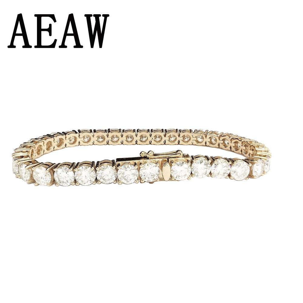 AEAW Solid 14K 585 White/Yellow Gold 4.1ctw Carats ct mm DF Color Moissanite Diamond Bracelet For Women Test Positive genuine14k 585 white gold push back 1carat ctw test positive lab grown moissanite diamond earrings for women