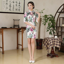 Jin'e 2016 New Pattern Summer Imitate Real Suzhou Cheongsam Short Fund Daily Restore Ancient Ways Cheongsam Skirt Wholesale