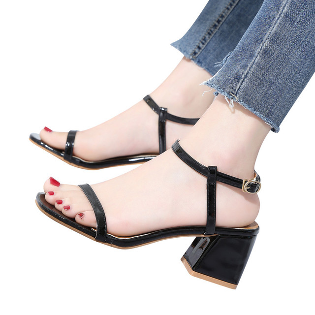 3916570858a women s sandals with heelsWomen Fashion Solid Color Square Toe Squar Heel  Rome High Heeled Shoes