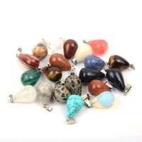 12 pièces En Gros Pierre Pendentif Goutte D'eau Forme Pendentifs Opale/Malachite Charmes pour Bijoux Faisant 13*18mm