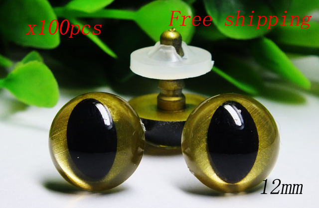 100pcs/lot 12mm gold color plastic toy safety cat eyes with washers