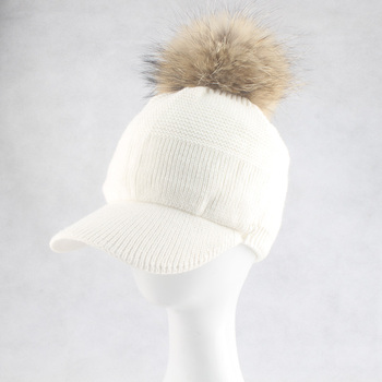 New Winter Fur Pompom Hat For Women Spring Cotton Knitted Baseball Cap With Pompon Brand Visor Caps Ladies Skullies Beanies 10