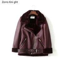 Зимняя Женская Овчина пальто утолщенная искусственная кожа мех Женское пальто меховая подкладка кожаная куртка Авиатор Куртка Casaco Feminino XS XL