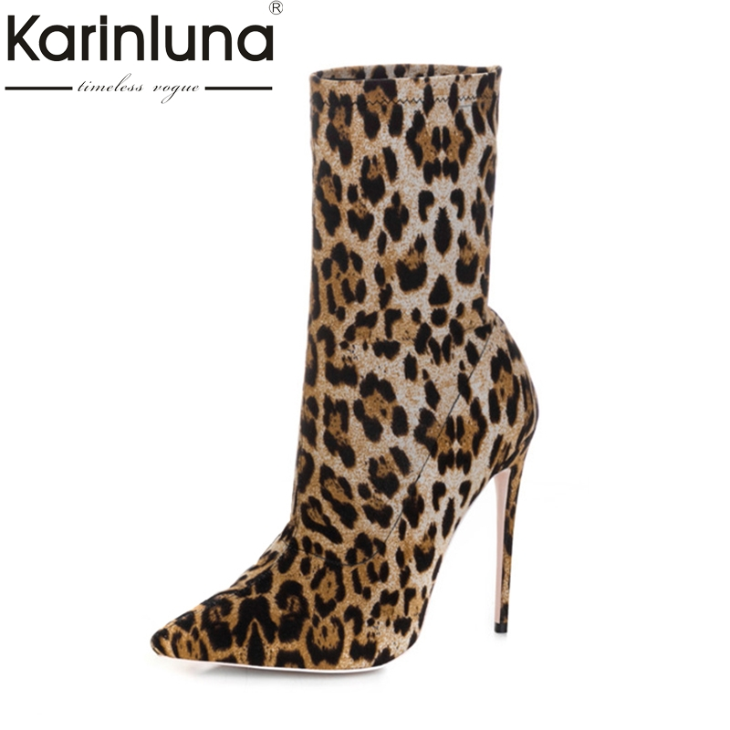 KarinLuna Sexy Leopard Thin High Heels Pointed Toe Women's Ankle Boots Party Wedding Cosplay Shoes Woman Big Size 33-43 gzx101206 fashion woman thin high heels pu pump lady plus big size sexy pointed toe shoes woman wedding shoes t strap 10cm 12cm