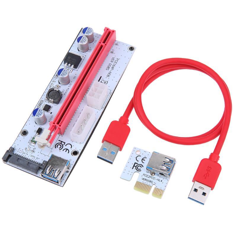 60 cm PCI-E Express 1X a 16X Riser Card USB 3.0 PCI-E Riser Adapter Port Card Extender Cavo Adattatore Filo per BTC Minatore