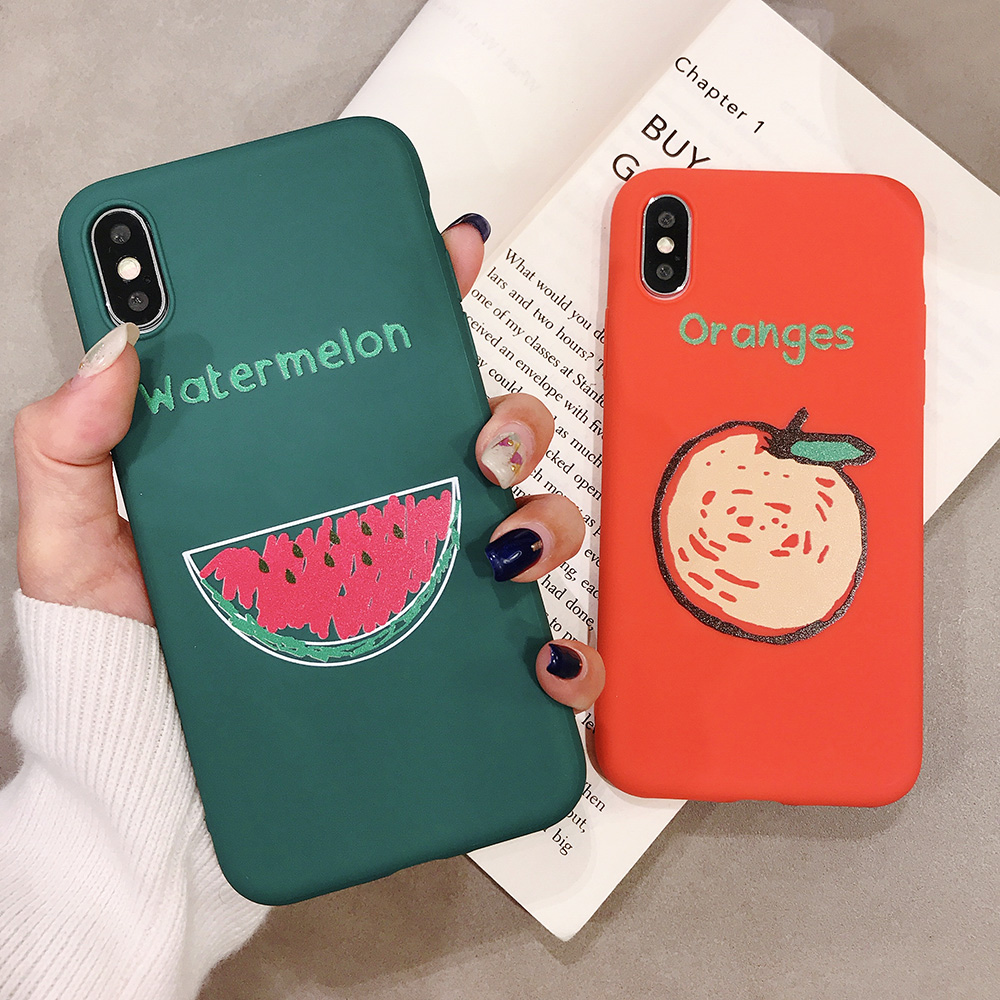 KIPX1090_2_JONSNOW Phone Case for iPhone XR XS Max 6S 7 8 Plus Embossed Fruit Style Lemon Watermelon Strawberry Patterns Soft Silicone Cover
