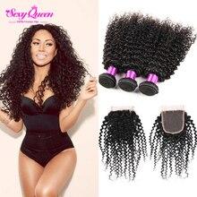 Black Girl Dream Hair 3 Bundles With Closure Sexy Formula Curly Malaysian Hair With Closure Maylasian Virgin Hair With Closure