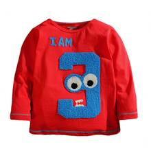 High Quality 18M-2T Boy Girl Birthday T-Shirt Baby 3D Embroidery Full Sleeve T-Shirt Graphic Long-Sleeve Tee For Baby Boy Girl