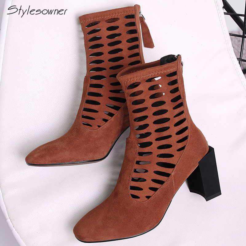 Stylesowner Elastic Suede High Heels Boots Hollow Out Mesh Holes Women High Heels Boots Retro Tassel Fringe Heels Boots New 2018