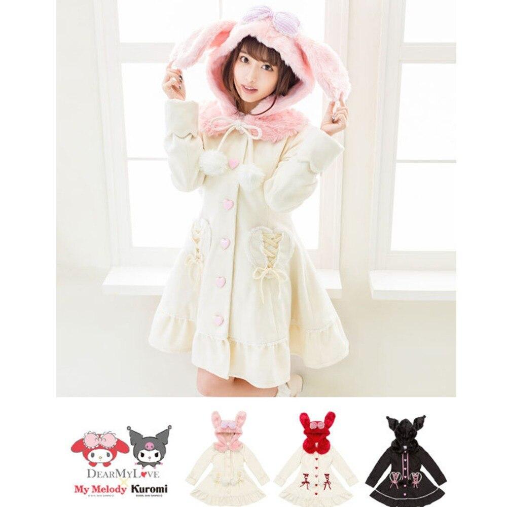 2017 Hiver Femmes De Laine Long Manteau Femelle Preppy Style Outfit Automne Mélanges Japonais Doux Laine Lapin Capot Ruban Coeur Poches