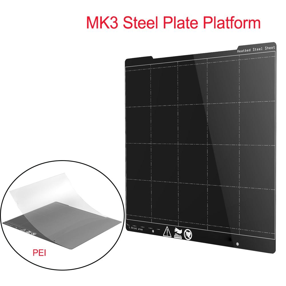 MK3 Spring Steel Plate Platform 254*241MM Heatbed 3D Printer Platform+PEI Sheet 3D Printer Parts For