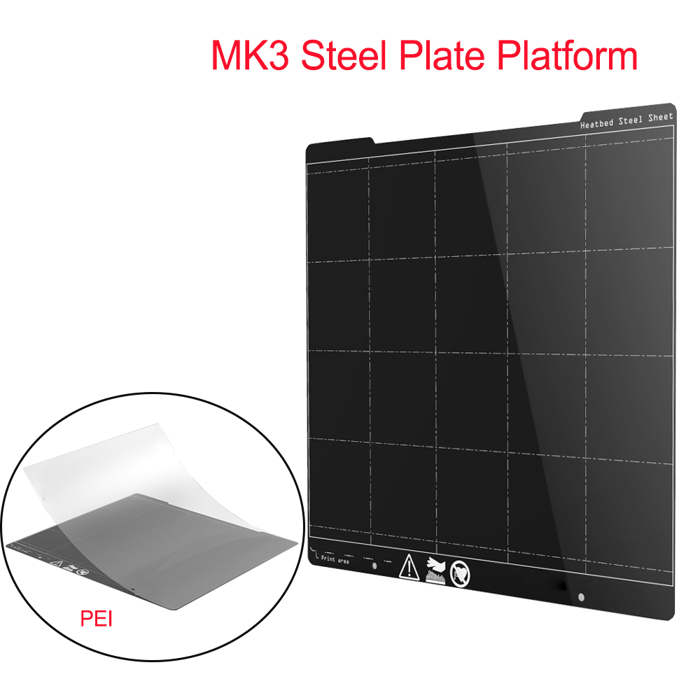 Placa de Aço Da Mola MK3 Plataforma Plataforma 254*241 MILÍMETROS Heatbed Impressora 3D + Folha PEI 3D Peças Da Impressora Para i3 MK3 MK3S Foco Adesivo