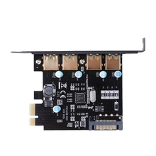 4 Порта PCI-E для USB 3.0 PCI Express Карты Расширения с ПОМОЩЬЮ 5 Гбит/с SATA 15-контактный Разъем Питания для Рабочего Стола черный