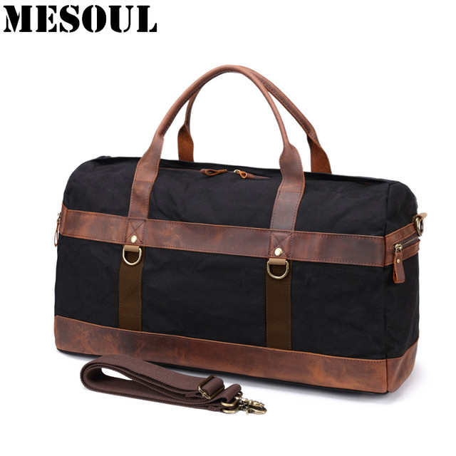 Vintage Waterproof Big Men Travel Bags Canvas Leather Duffle Bag Male Tote  Large Capacity Carry on Overnight Weekend Bag Luggage d0bebbb22c34f