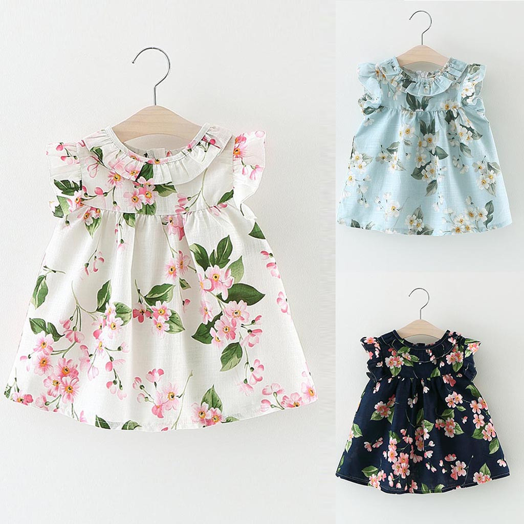 Toddler Kid Baby Girl Toddler Baby Girl Clothes Set Floral Outfits Clothes Floral Print Party Pageant Princess Dress