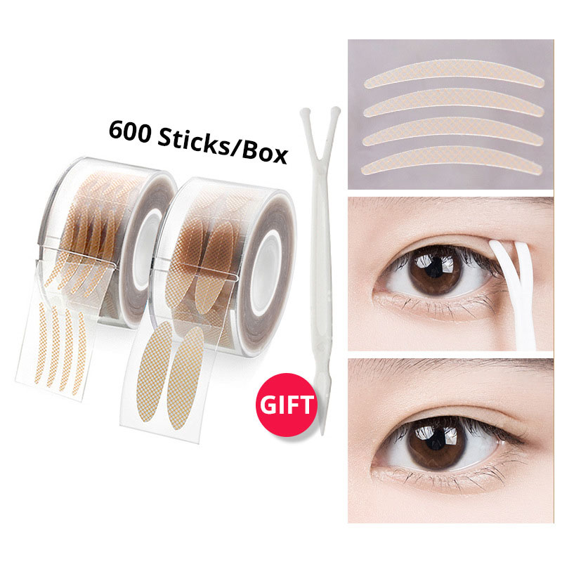 600pcs Double Eyelid Tape dispenser Natural Invisible Waterproof eyelid stickers Paste Eye Lift Instant Makeup Clear eye strips