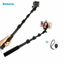 Protable Extendable monopod Bluetooth selfie stick with phone holder for Action cameras Gopro Phone Iphone Android xiaomi Huawei