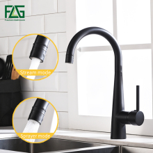 FLG Kitchen Sink Faucets Black Brass Kitchen Faucet 360 Swivel 2 Function Water Outlet Mixer Cold Hot Mixer Water Tap 1013-33B free shipping kitchen faucets with plumbing hose all around rotate swivel 2 function water outlet mixer tap faucet kitchen tap