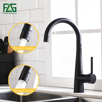 Grifos de fregadero de cocina FLG grifo de cocina de latón negro 360 giratorio 2 funciones mezclador de salida de agua grifo de agua fría 1013-33B
