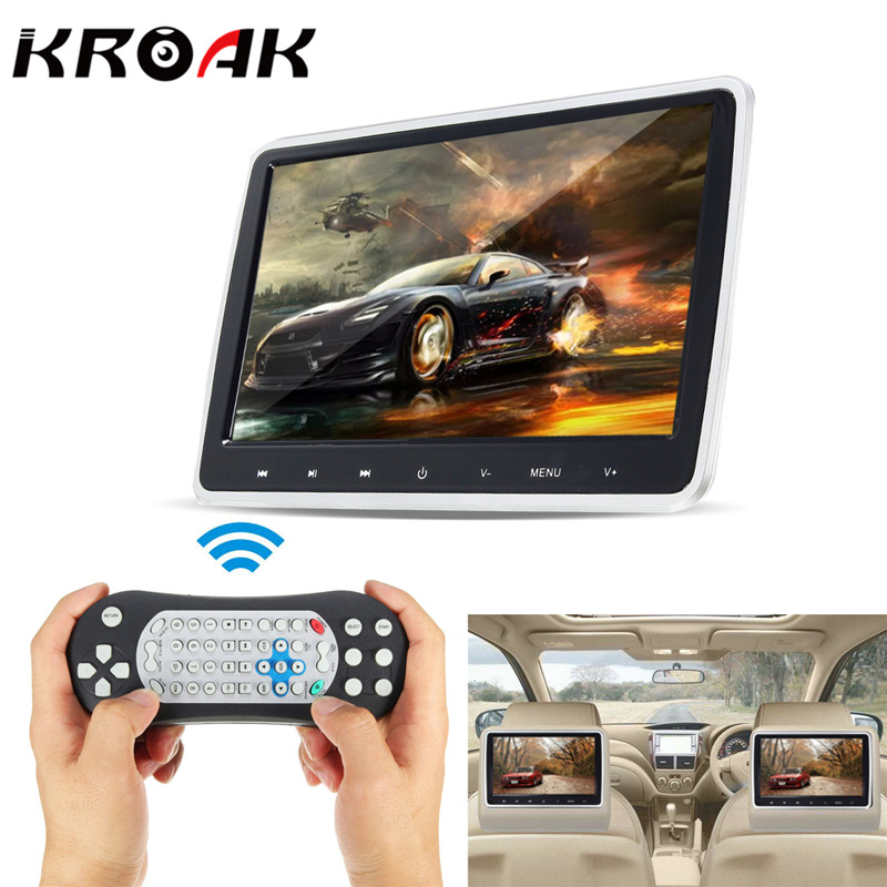 KROAK 10.1'' Car LCD Video Headrest Monitor SD USB MP5 Radio CD DVD Player IR/FM Game car headrest 2 pieces monitor cd dvd player autoradio black 9 inch digital screen zipper car monitor usb sd fm tv game ir remote