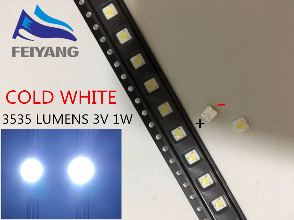 100pcs LUMENS LED Backlight <font><b>1W</b></font> <font><b>3V</b></font> <font><b>3535</b></font> 3537 Cool white LCD Backlight for TV TV Application A127CECEBUP8 Style-3 image