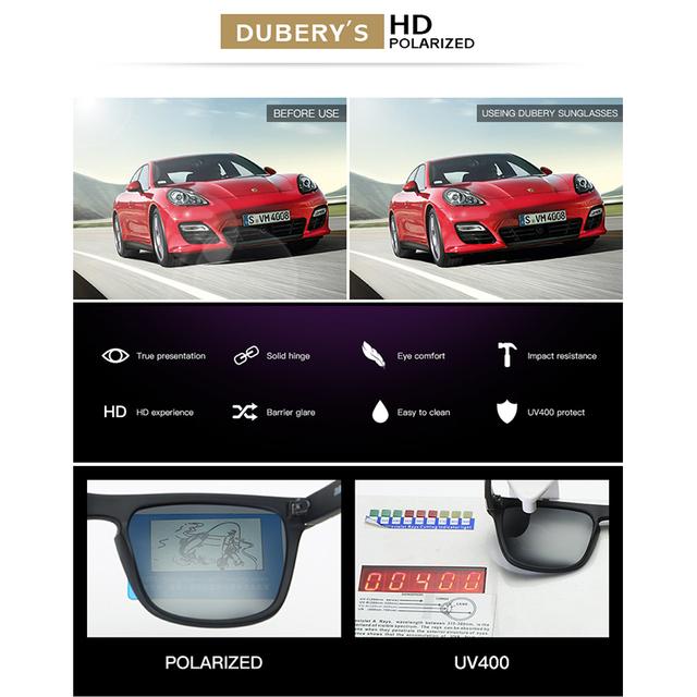DUBERY Polarized Sunglasses Men's Driving  Sun Glasses For Men High Quality Retro  Luxury Brand Designer Zipper Box 730