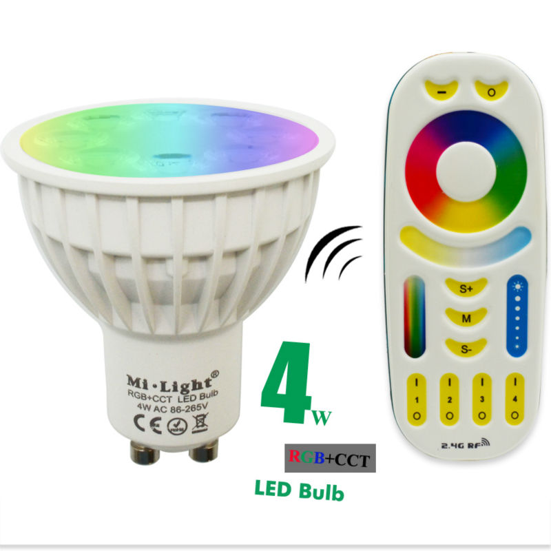 4W GU10 led spotlight bulb lamp Mi Light RGB CCT Dimmable 85-265V led spotlight Indoor Decoration + 2.4G RF LED Remote Control