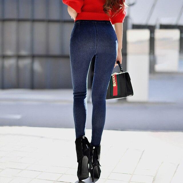 Dabuwawa Autumn Pencil Pants Female 2018 New High Waist Slim Jeans Blue Pocket Zipper Fly Jeans Women Denim Casual Pants