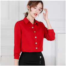 Womens Ol Chiffon Blouse 2019 Spring Red / Blue White Shirt Long Sleeve Button Shirts Korean Casual Slim Elegant Ladies Tops