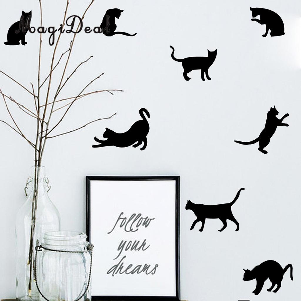 Озорной кошка стены Стикеры Наклейки на стены украшение Стикеры Детские Спальня гостиная украшения