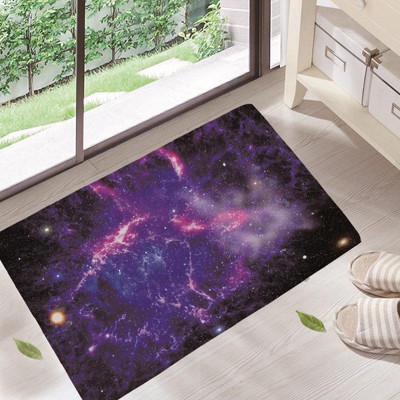 Cosmic Outer Space Stars Starry Sky Felt+Rubber Bath Mats Carpet Rug ...