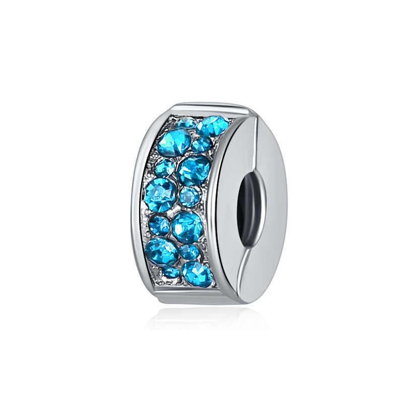 MOQ 1 pc משלוח חינם אירופאי לבן ורוד כחול קליפ spacer diy חרוז Fit פנדורה צמיד נשים תכשיטים EL165