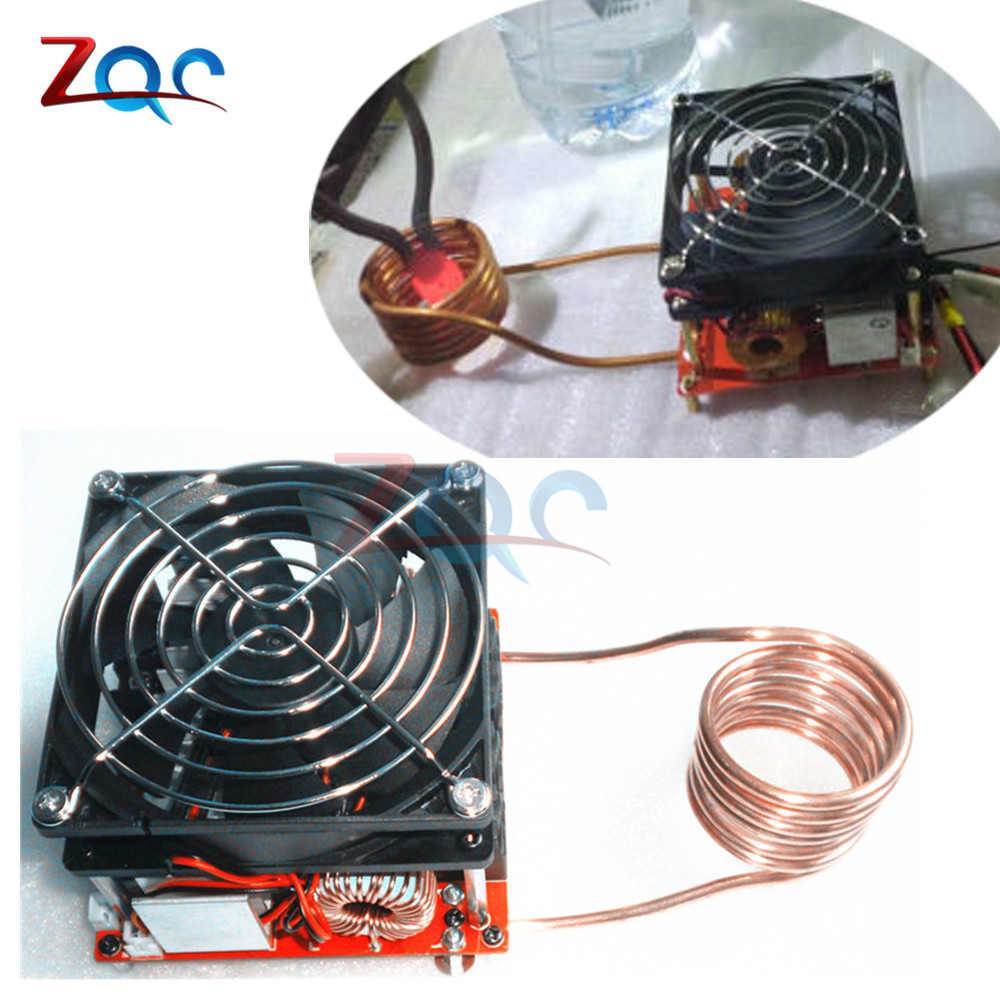 DC 24-36V 20A Diy ZVS Induction Heating Board Flyback Driver Heater Cooker + Ignition Coil With Fan dc12 36v 20a 1000w zvs induction heating module heater with cooling fan copper tube
