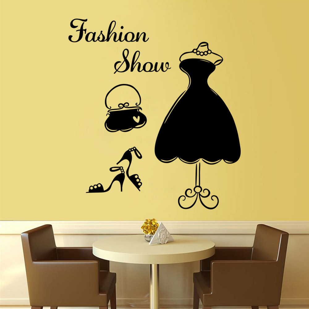 DIY Fashion Show Dress Wall Sticker PVC Mural Decal Women\'s Wardrobe ...