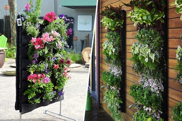 Vier zakken verticale muur bloempot tuin decoratie diy muur